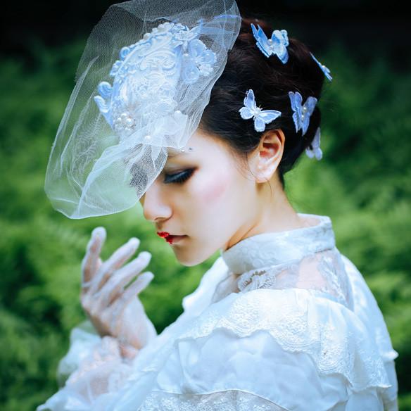 高品質 静謐の少女 レトロ レース頭飾り ロリータ髪飾り