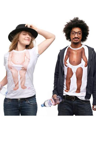ベビーボディデザインのペアルックTシャツ イタズラTシャツ