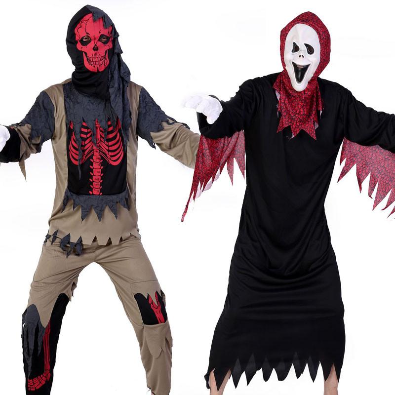 ハロウィン演出服 赤白ドクロコスチューム 悪魔髑髏 ハロウィーン衣装