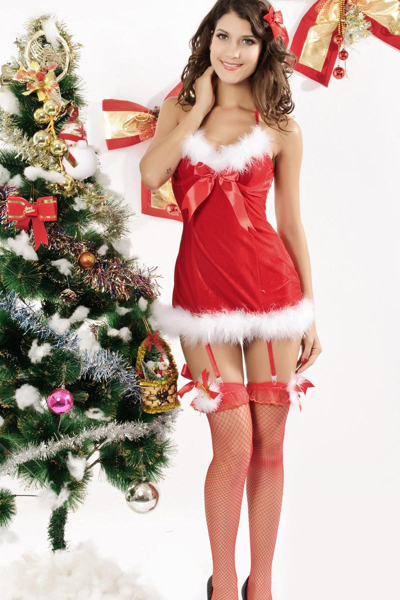 セクシークリスマス衣装 可愛い蝶結び パーティーコスチューム