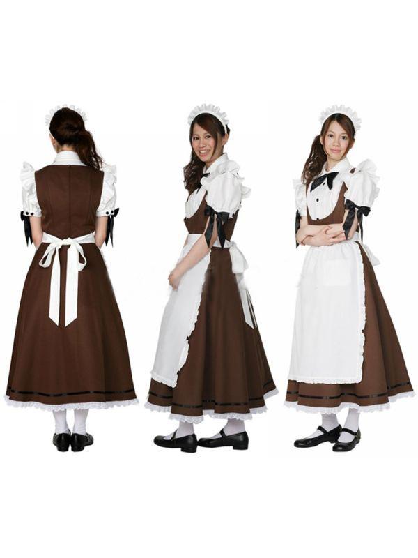 Cosplayロングメイド服 正統派ウェトレス制服通販衣装