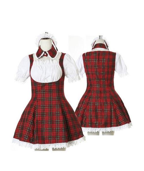 赤いチェック コスプレ衣装Lolita風味